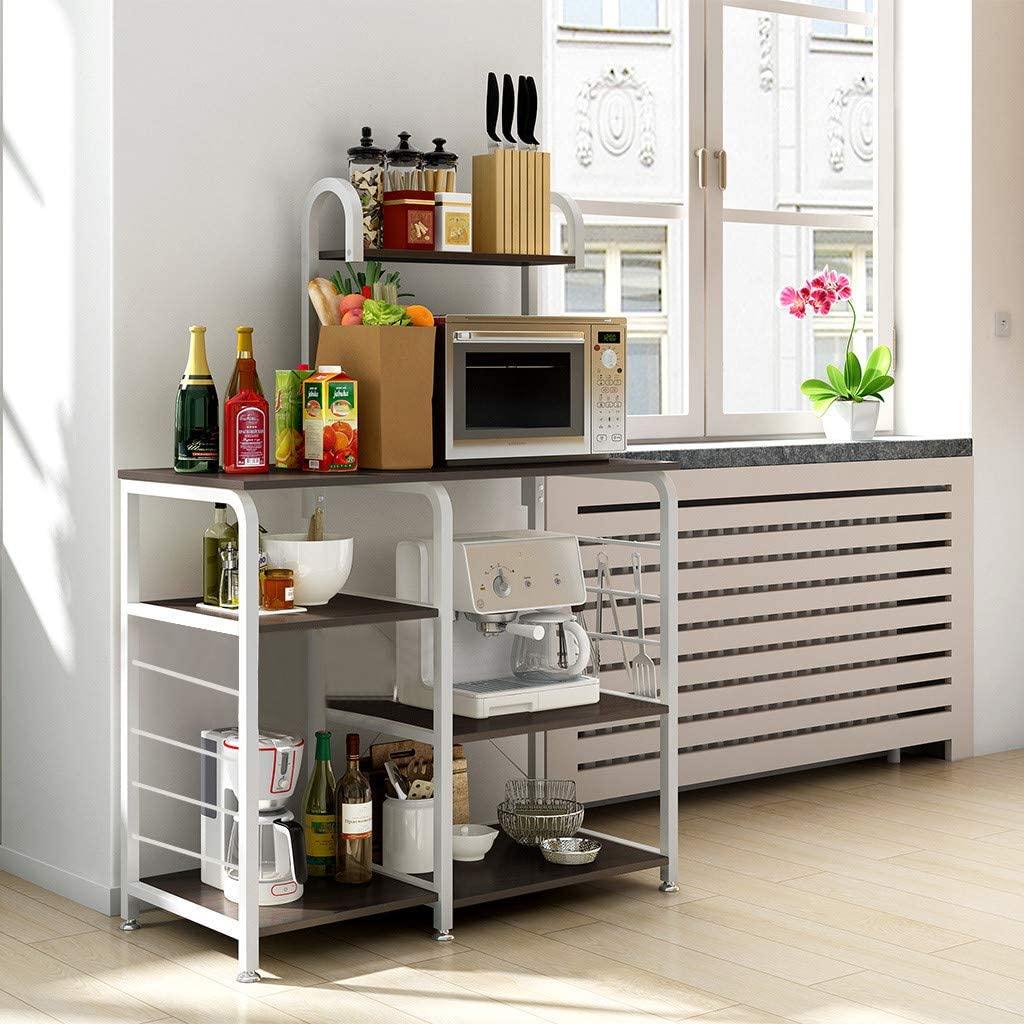Multifunctional Kitchen Rack Microwave Oven Floor Shelf Storage Storage Cupboard Storage Cart Workstation Shelf 3-Tier Easy Assembly (Black)