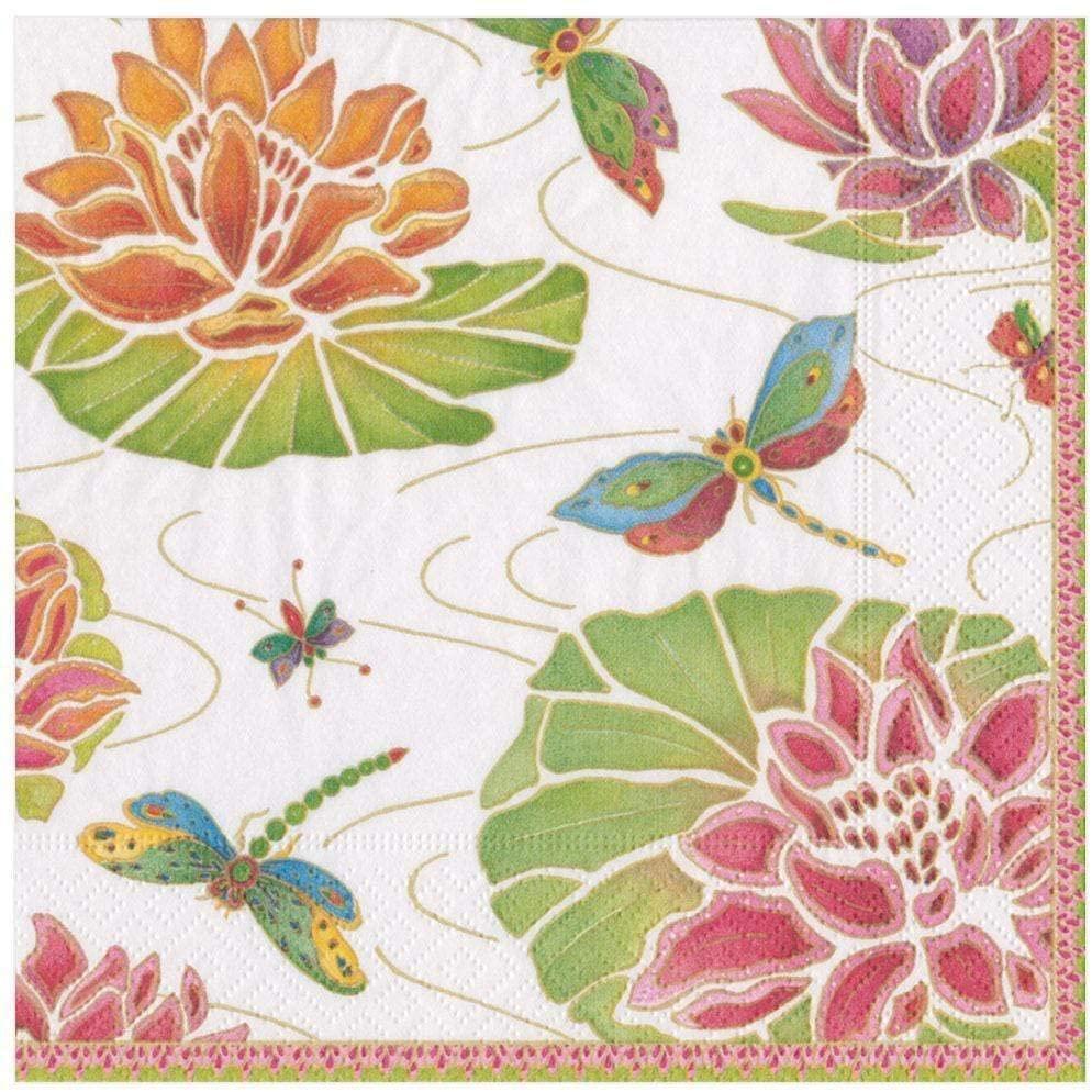 Caspari Jeweled Pond Paper Dinner Napkins in Ivory, 20 Per Package