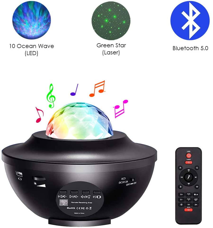 10 Ocean Wave and Green Star Projector, 3-in-1 LED/Laser Projector Lamp, Remote Control Music Player with Bluetooth Mode and USB Disk Mode, Gift for Baby, Kids and Children