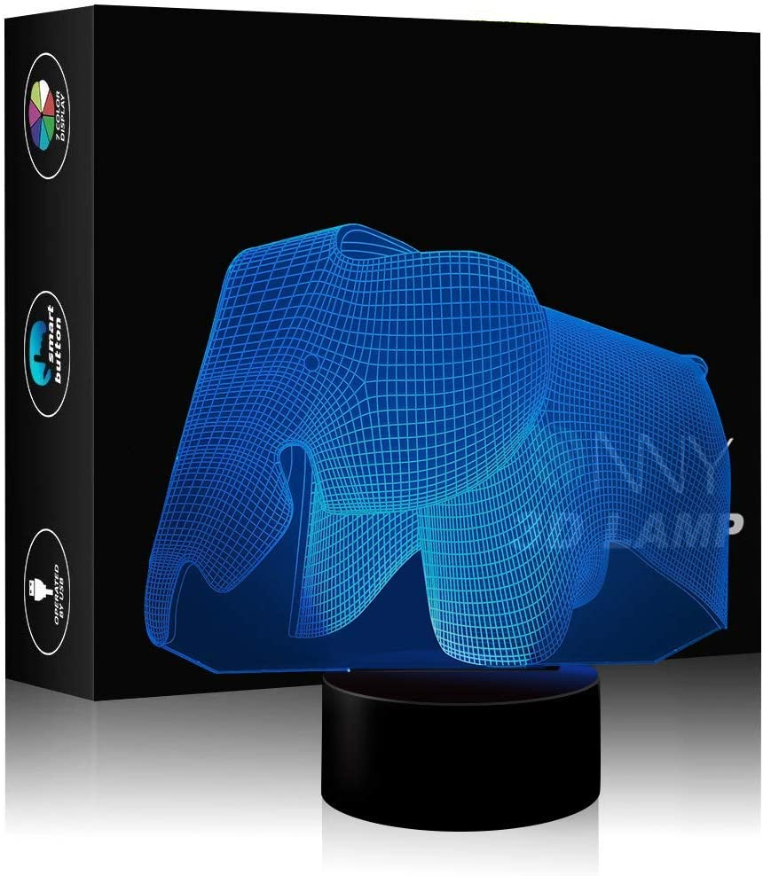 Elephant Illusion Lamps 3D Night Light Desk Toy Optical Illusion Floor Lamp 7 Color Touch Switch USB Power and Battery for Living Room
