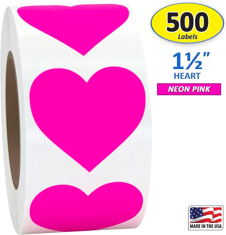 Pink Heart Shaped Sticker Labels, 1 1/2 Diameter, 500 per Roll, 1.5 inch