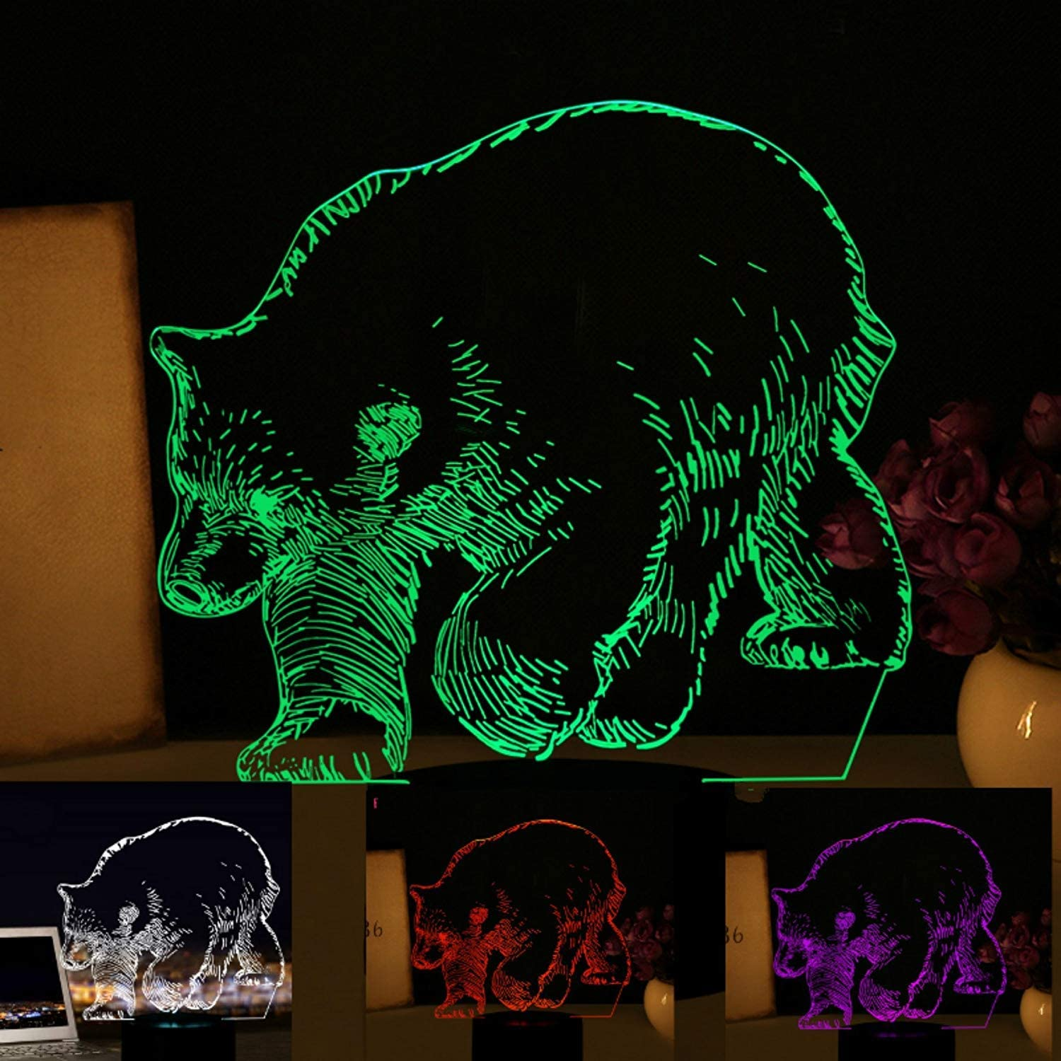 3D Bear Night Light USB Touch Switch Decor Table Desk Optical Illusion Lamps 7 Color Changing Lights LED Table Lamp Xmas Home Love Brithday Children Kids Decor Toy Gift