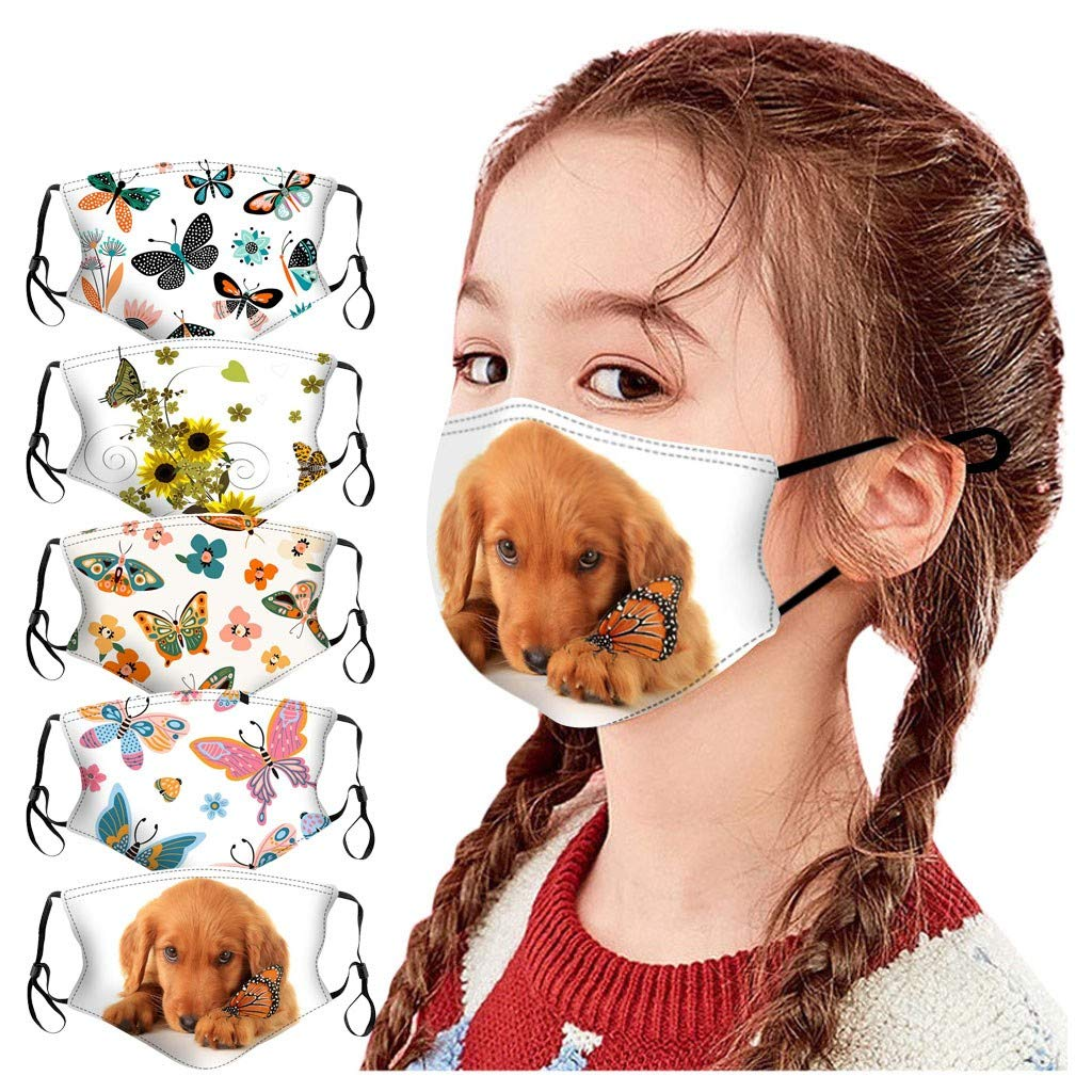 Walsent 5PCS Halloween Cotton Face Bandanas Kids Adjustable Cute Print Reusable Face Bandanas Face Mouth Protective for Indoor Outdoor
