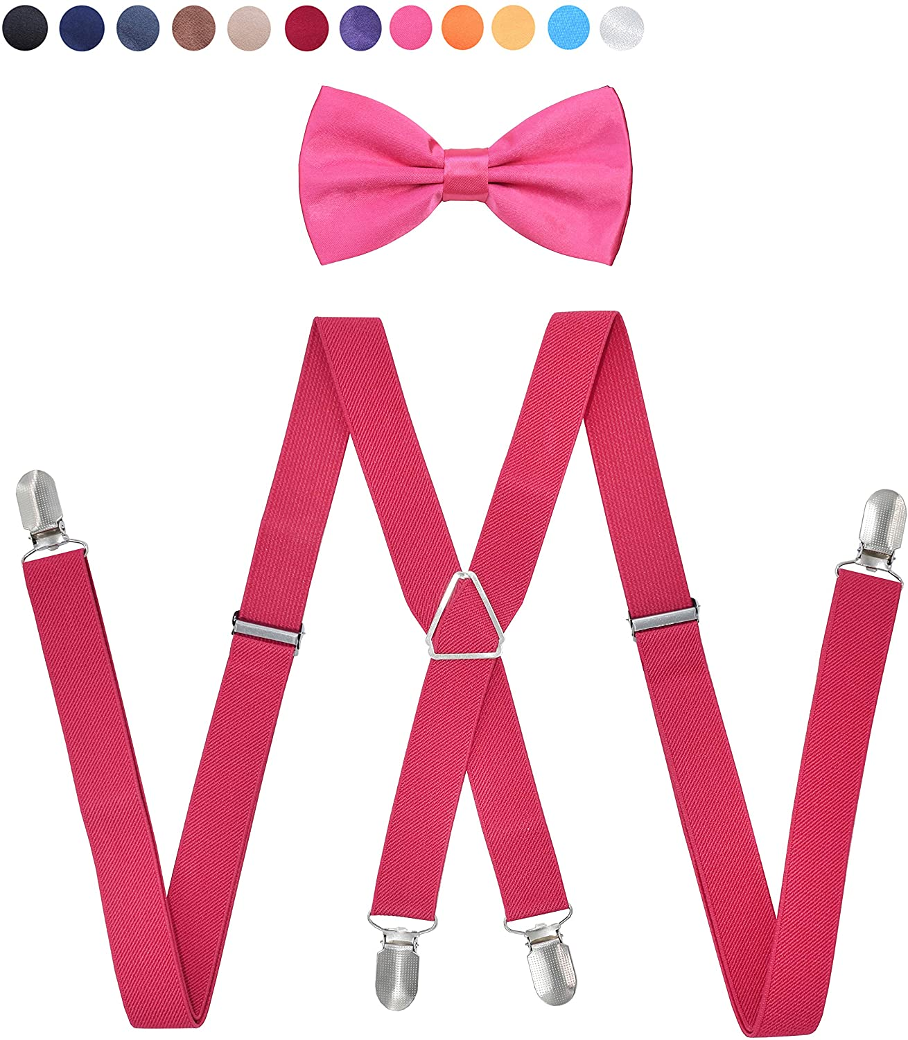 Mens Suspenders Bowtie Set,Type X Super Tight Anti-Skid Elastic Four Clips,Adjustable Bow Tie, Unisex for Teenager and Women