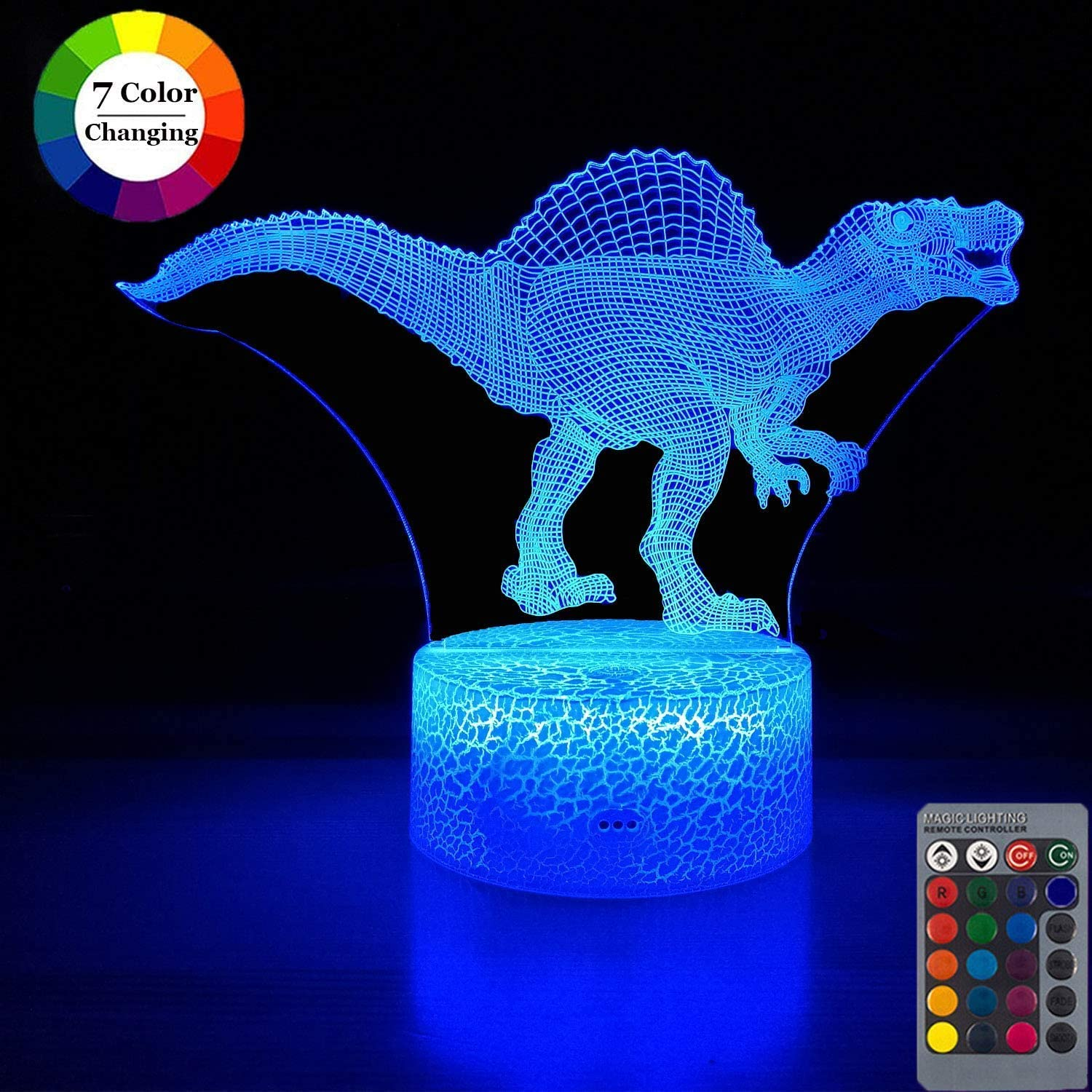 Gmatrix Dinosaur 3D Illusion Lamp, 3D Night Lights for Kids Boys 7 Color Change with USB, Touch&Remote Control