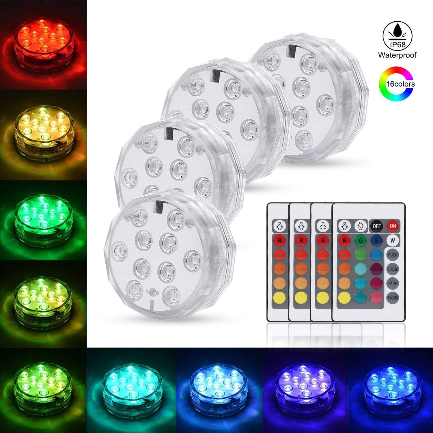 Submersible LED Light, LEDGLE Underwater Light Battery Operated Multi Color Changing Waterproof Decorated IP68 Waterproof LED Lights with Remote Control for Aquarium, Hot Tub, Vase Base, Party(4 Pack)
