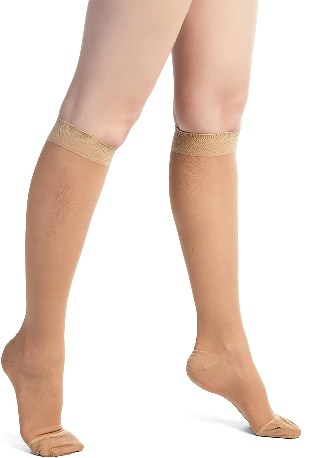 EvoNation Women's USA Made Wide Sheer Graduated Compression Socks 15-20 mmHg Moderate Pressure Medical Quality Knee High Support Stockings Hose - Circulation Travel (Large Wide, Tan Nude Beige)