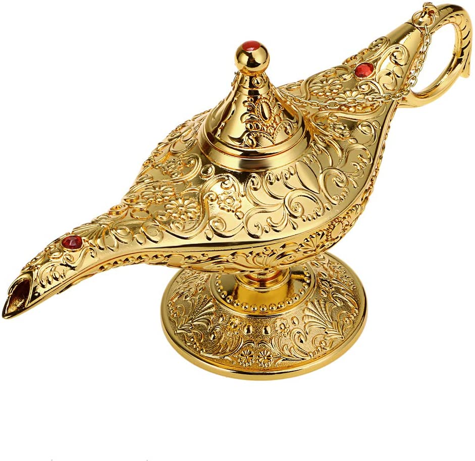 Hipiwe Vintage Magical Legend Aladdin's Genie Lamp for Home/Wedding Table Decoration,Collectable Rare Classic Arabian Costume Props Lamp Pot &Gift for Party/Halloween/Birthday (Golden)