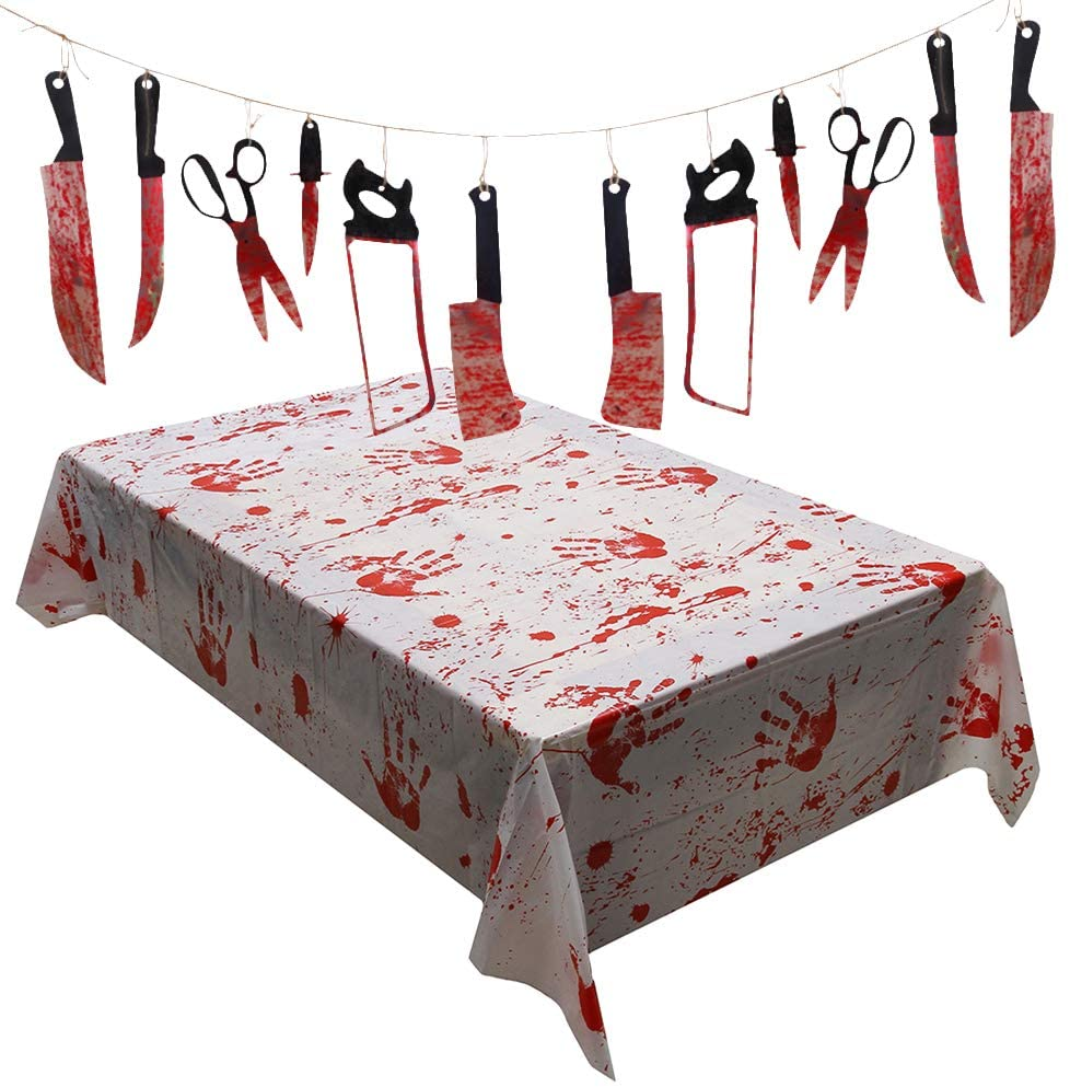 Cabilock Tablecloth Halloween Bloodstained Tablecloths Interior Decoration Props Party Supplies for Haunted House Chamber (130x260cm Bloody Tablecloth + 1 Set 12pcs Bloody Plastic Knives)