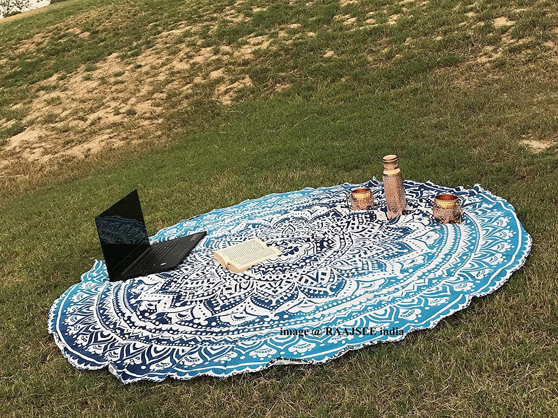 raajsee Aqua Blue Round Beach Tapestry Hippie/Boho Beach Blanket Roundie/Indian Cotton Throw Bohemian Round Table Cloth/Yoga Mat Meditation Picnic Rugs 70 inch Circle