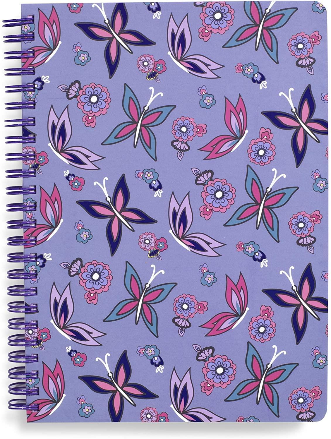 Vera Bradley Purple Butterfly Mini Spiral Notebook, 8.25 x 6.25 with Pocket and 160 Lined Pages, Makani Paisley