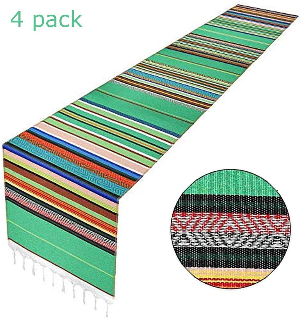 MINILIFE Serape Table Runner 14 x 84 Inch for Mexican Party Wedding Decorations Outdoor Picnics Dining Table, Fringe Cotton Handwoven Table Runners