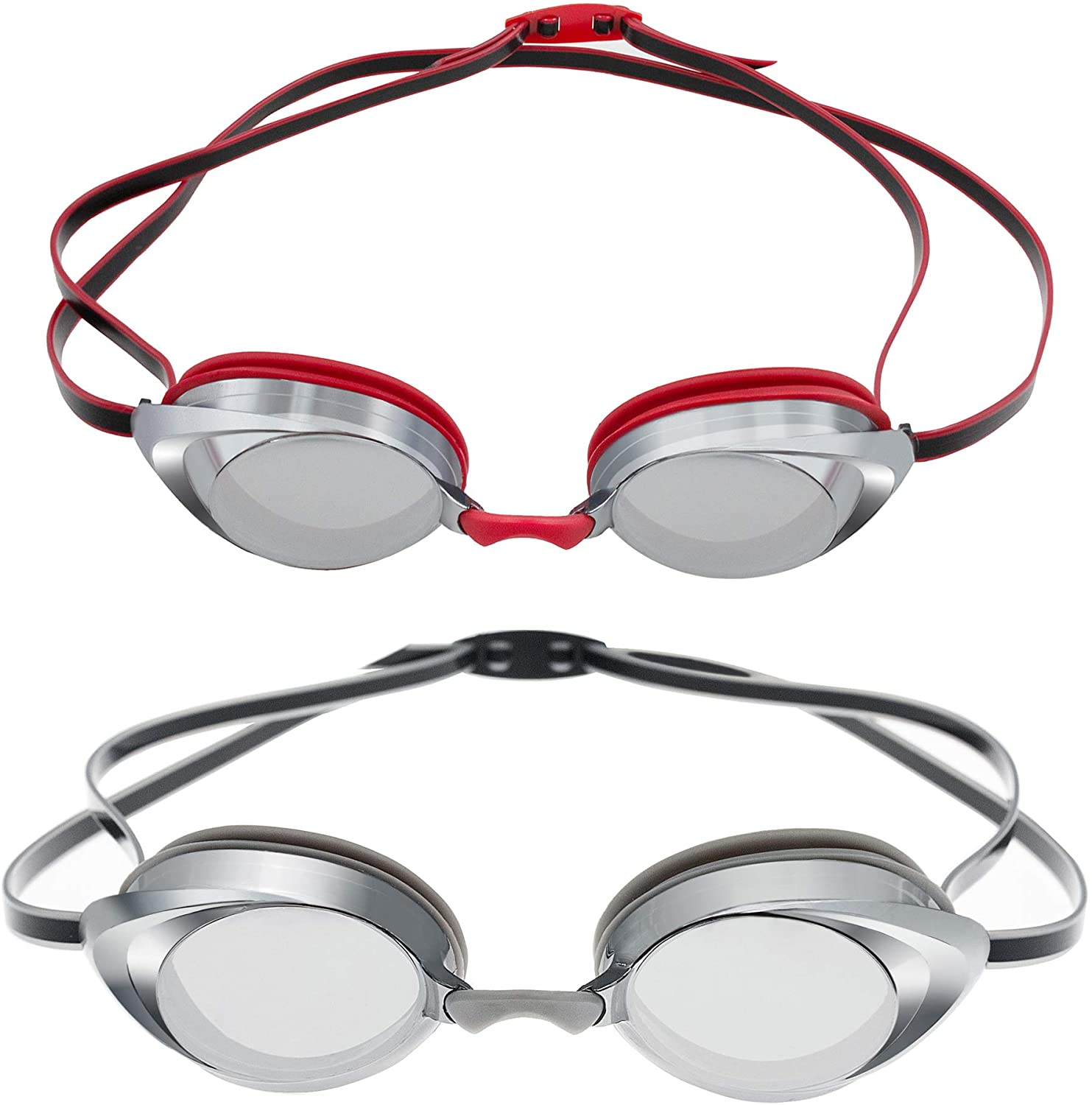 Nabevin Swim Goggles for Men and Women Of 2 Pack – Mirrored Swim Goggles Leakproof Design – Soft Silicone Seals (Grey-Red)