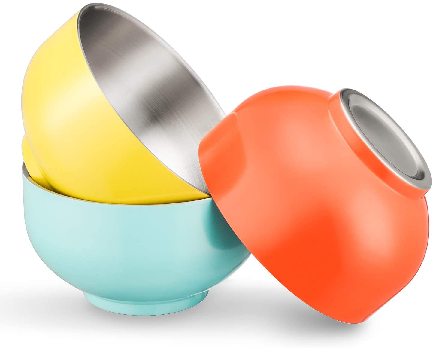 Stainless Steel Soup Bowls, Beasea 16oz 5.4 Inch Double Walled Insulated Salad Bowls Set of 3, Blue Yellow Orange Stainless Steel Mixing Bowls Metal Rice Cereal Serving Bowls for Kids and Adults