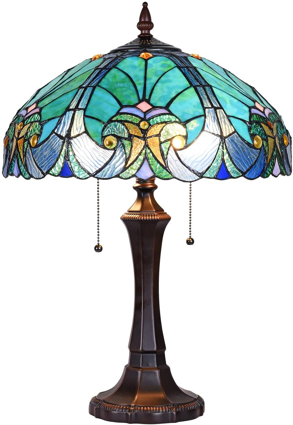 Cotoss Tiffany Style Table Lamp, 2-Light Tiffany Table Light, 16 inch Wide Blue Stained Glass Table Lamp, Tiffany Style Desk Lamp for Living Room, Bedroom