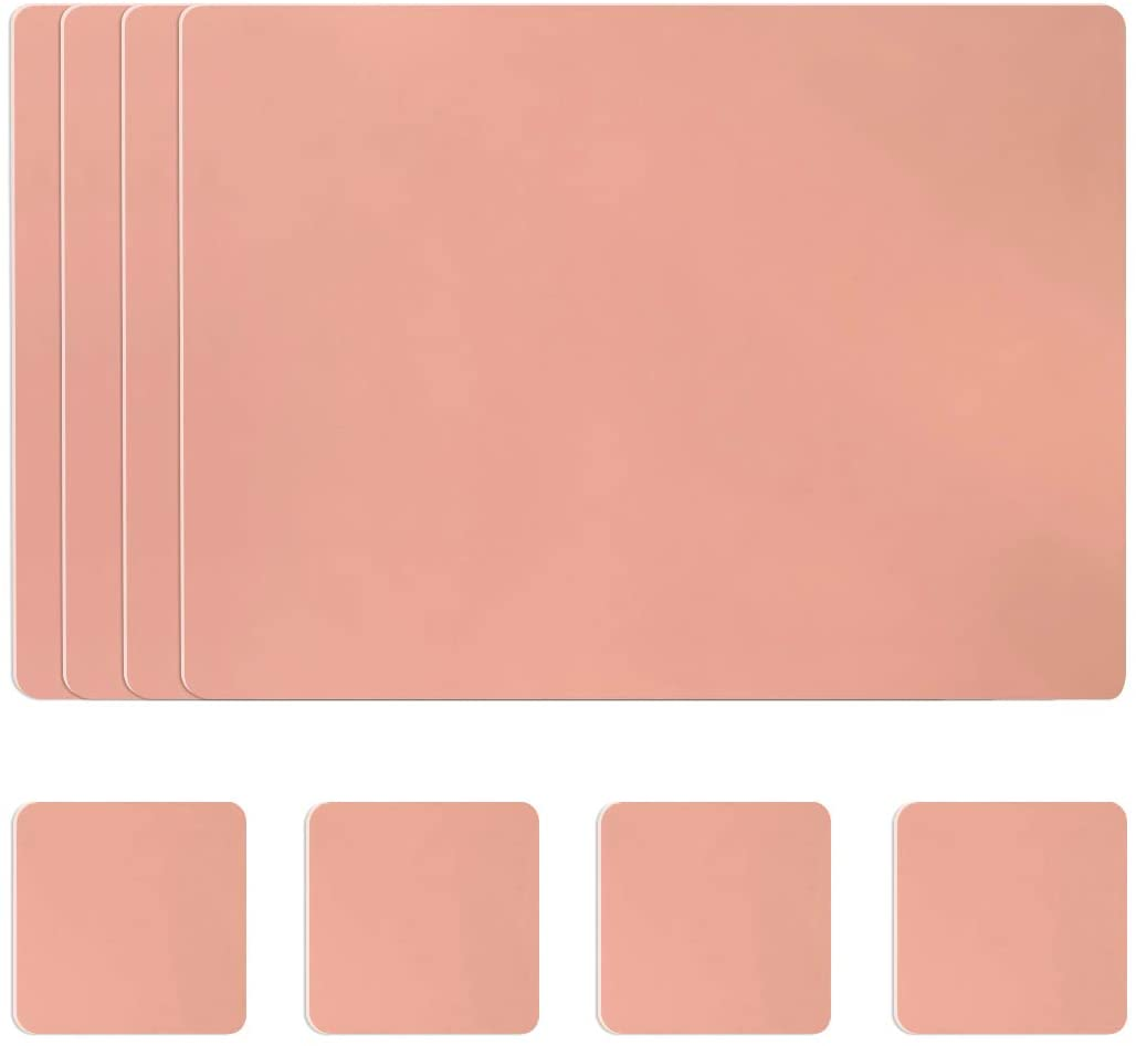 vacavaliente Set of 4 Pink Rectangular Placemats and Coasters, 4 Place Mats 16