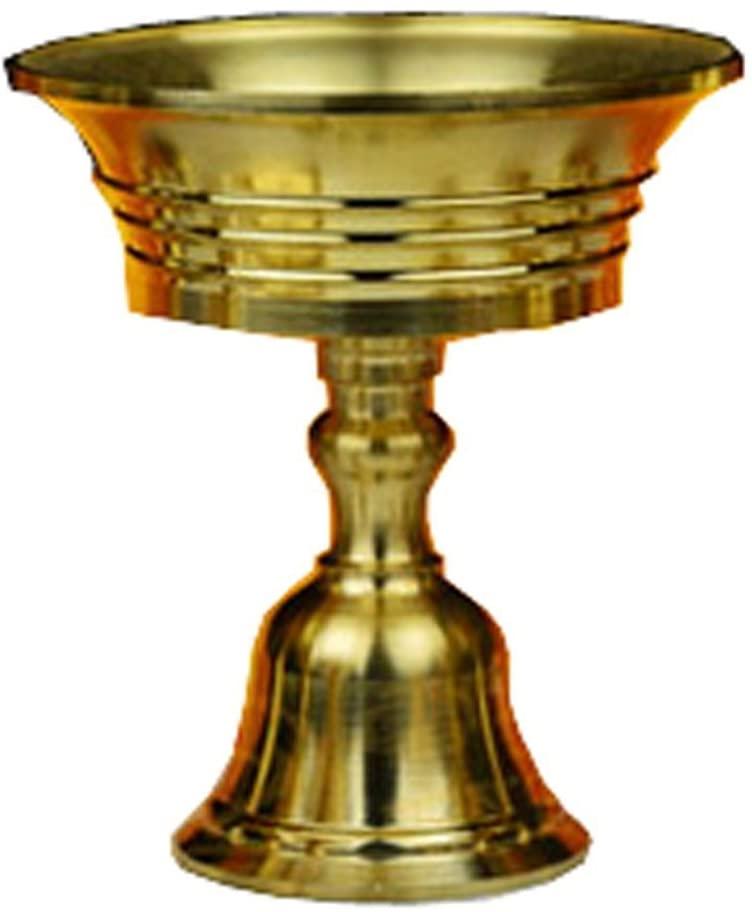 Sziqiqi 6 Pcs Ghee Lamp Butter Lamp Holder Golden Cup Candle Holder Tibetan Brass Oil Lamp Buddhist Altar Supplies, Gold 6#