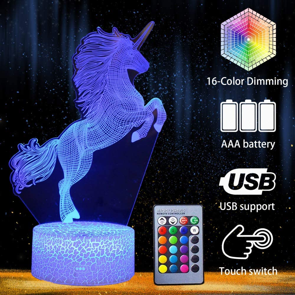 Unicorn Fairy Night Light Lamp Smart Touch & Remote Controlled 16 Colors Changeable Nightlight Optical Illusion LED Crackle White Base
