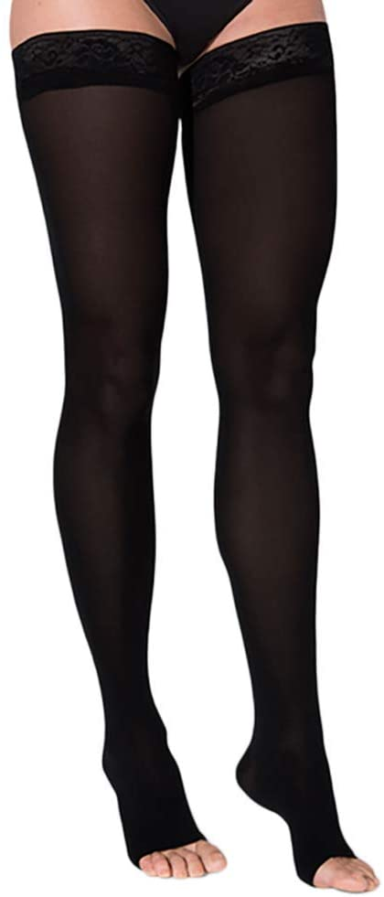 SIGVARIS Women's Style Soft Opaque 840 Open Toe Thigh-Highs w/Grip Top 15-20mmHg