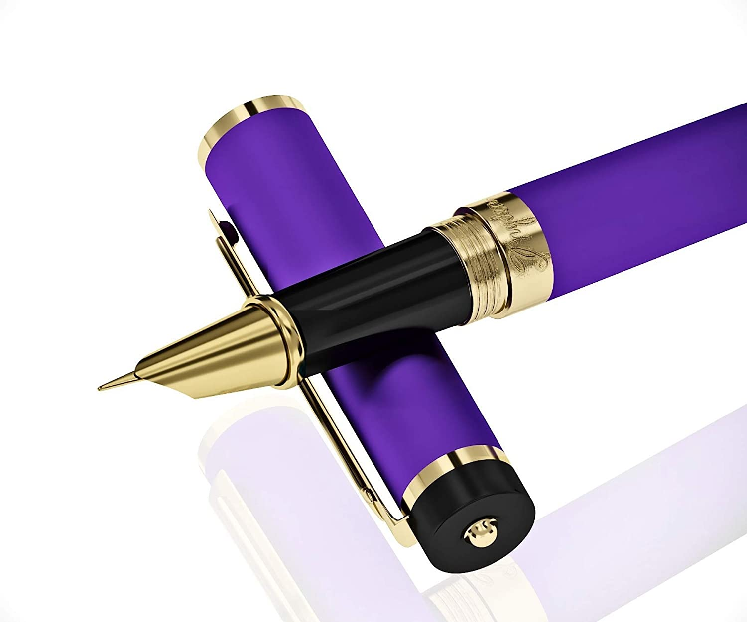 Dryden Designs Fountain Pen Fine Nib, Includes Gift Box and Ink Refill Converter, Classic Writing - Decadent Purple for Left and Right Handed