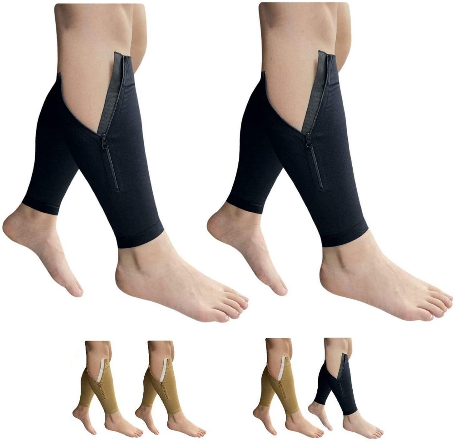 HealthyNees Shin Footless 20-30 mmHg Zipper Compression Leg Calf 2 Pairs Sleeve (Black Combo, 3X-Large)