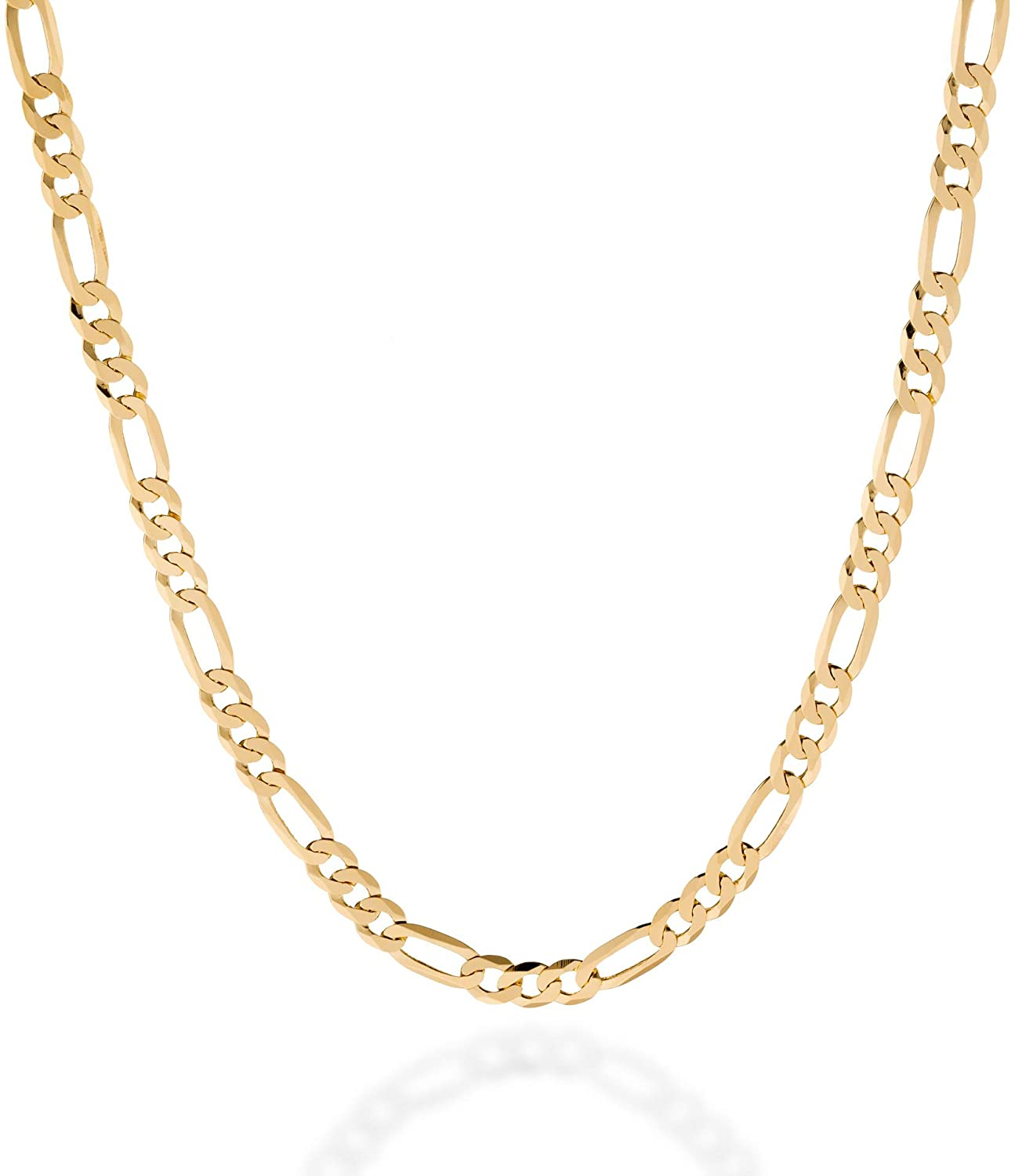 Quadri - 18K Gold Plated over 925 Sterling Silver 5MM Figaro Link Chain Necklace 16-30 Inch Made in Italy