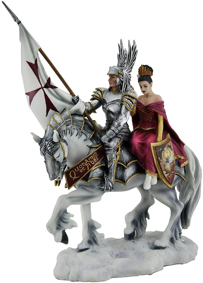 Veronese Design Faith by Ruth Thompson Mounted Templar Knight and Lady Statue