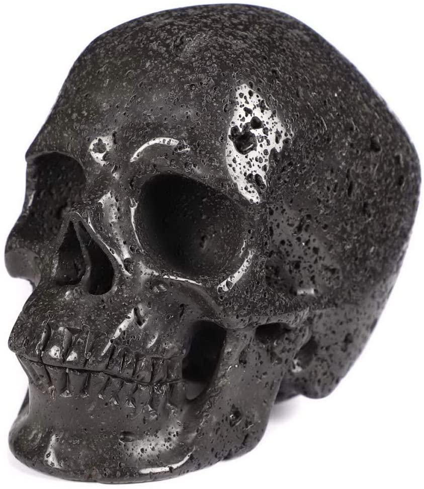 Skullis 5.0 Hot Lava Super Realistic Crystal Skull, Hand Carved Gemstone Fine Art Sculpture, Reiki Healing Stone Statue.