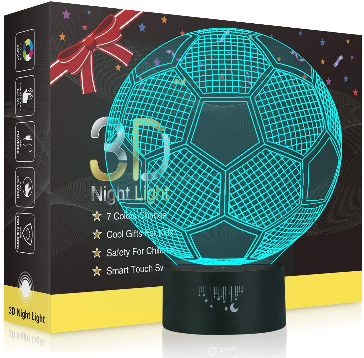 Soccer 3D Night Light for Boys, Rquite Optical Illusion Lamps for Kids Bedroom Decors, 7 Color Touch Switch Cool Gifts for Birthday Mother's & Father's Day Christmas Holidays