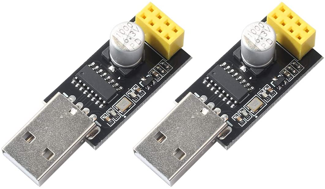 2pcs USB to ESP8266 ESP-01 Serial to WiFi Module Adapter Developent Board Computer Phone Wireless Communication Microcontroller fit Arduino