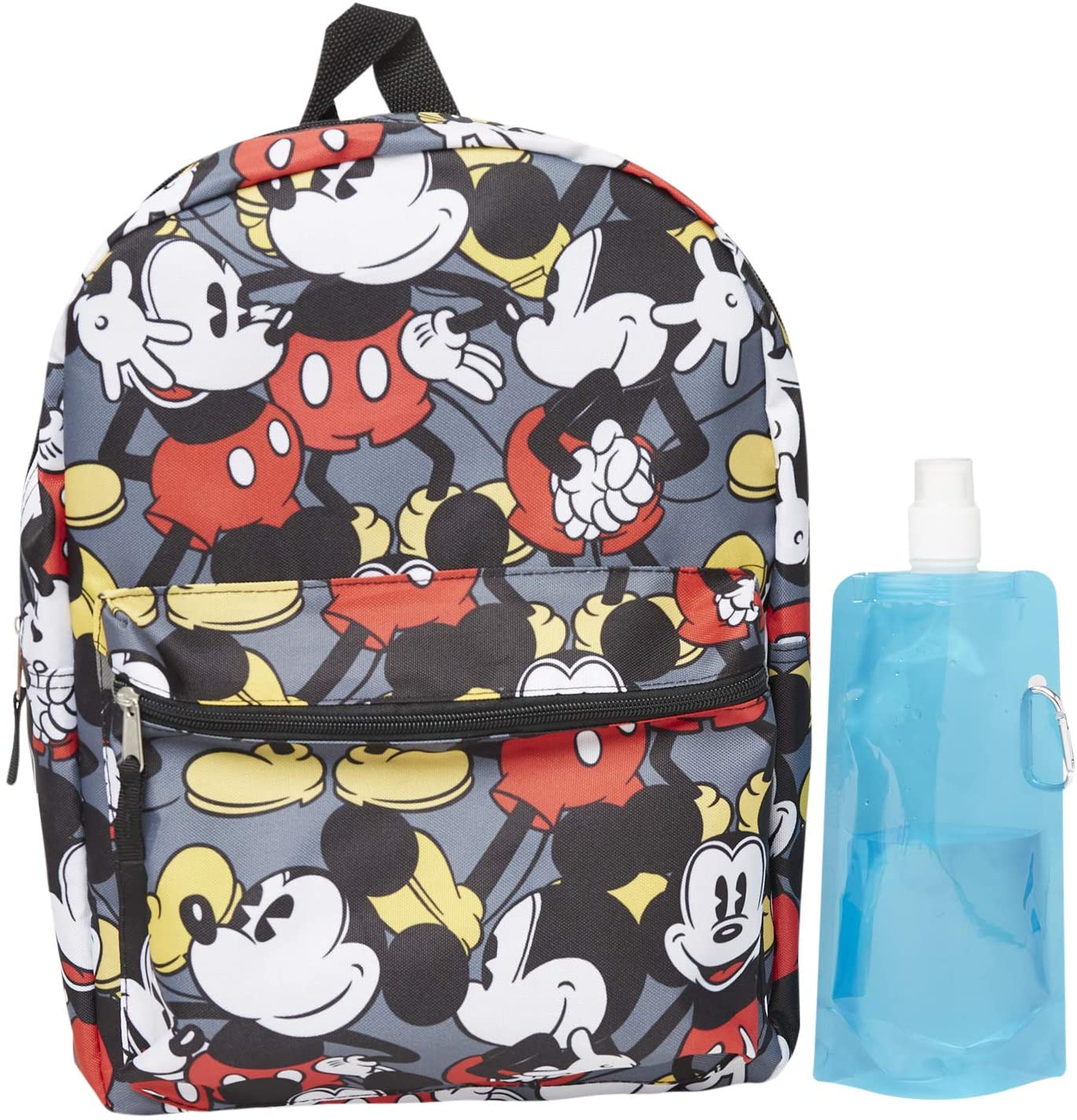 Mickey Mouse Backpack Combo Set - Mickey Mouse Boys 3 Piece Backpack Set - Backpack, Water Bottle and Carabina (Allover)
