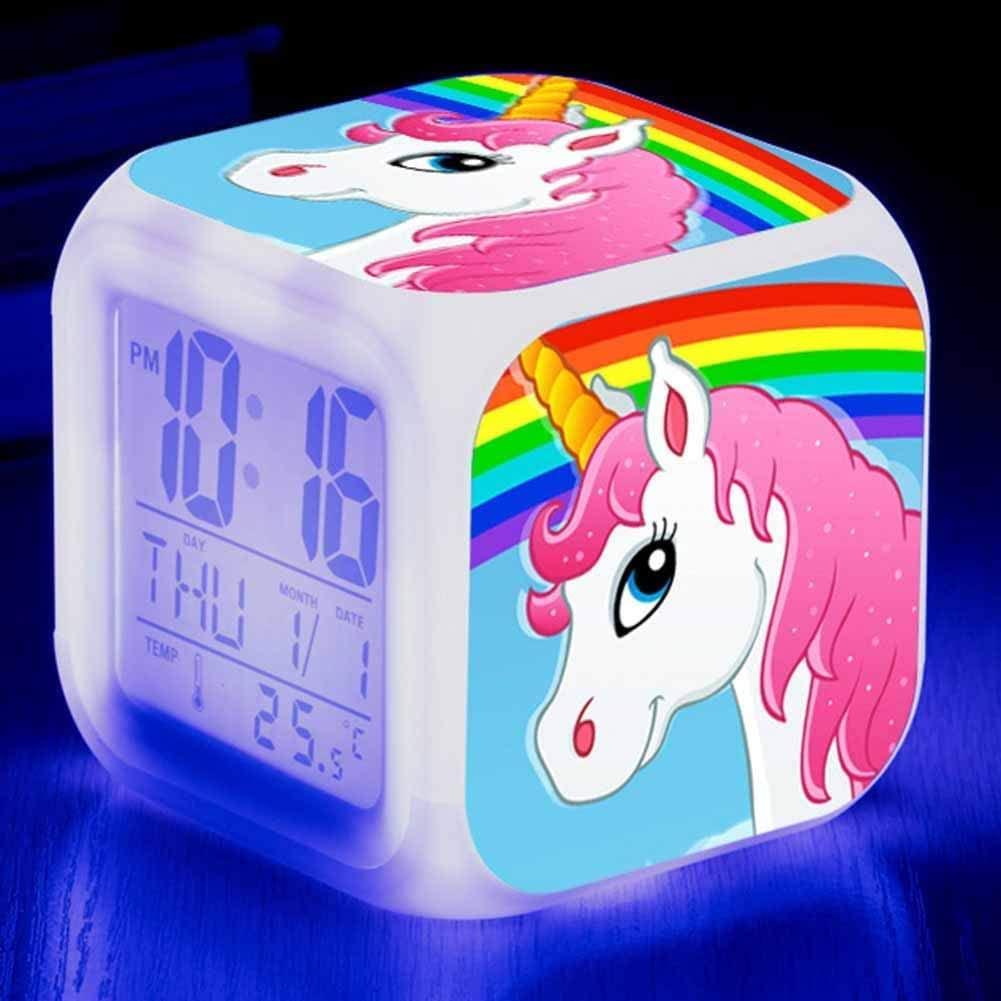 Schine Unicorn LED Digital Alarm Clock, Color Changing Alarm Clock 7 Colored Batteries Operated Night Light Alarm(H09)