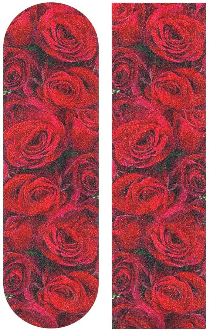 senya Skateboard Grip Tape Red Rose Longboards Griptape Sandpaper for Rollerboard