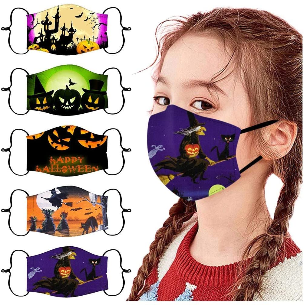 Walsent 5PCs Kids Children Adjustable Reusable Halloween Printed Face Bandanas Stay Safe Face Mouth Bandanas for Outdoor Protective