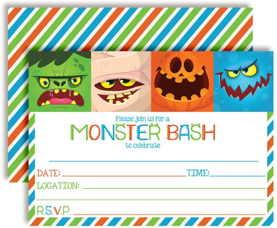 Monster Bash Halloween Party Invitations, 20 5