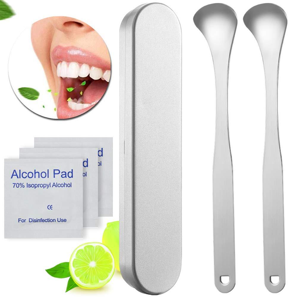 Tongue Scraper - Cleaner Tongue Scraper Stainless Steel Tongue Scraper Cleaner Metal Tongue Scraper for Adult Fresh Breath Medical Surgical Grade 2 Pack