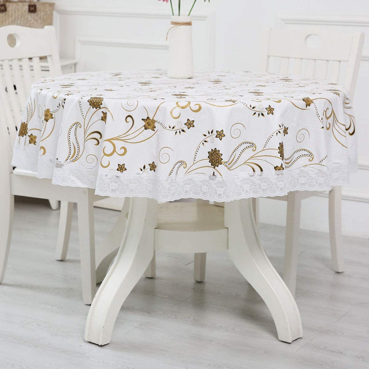 LOHASCASA Round Vinyl Oilcloth Lace Tablecloth Waterproof PVC Plastic Spillproof Peva Heavy Duty Farm Oil Proof Wipeable Tablecloth for Luau White+Gold Floral 60 Inch