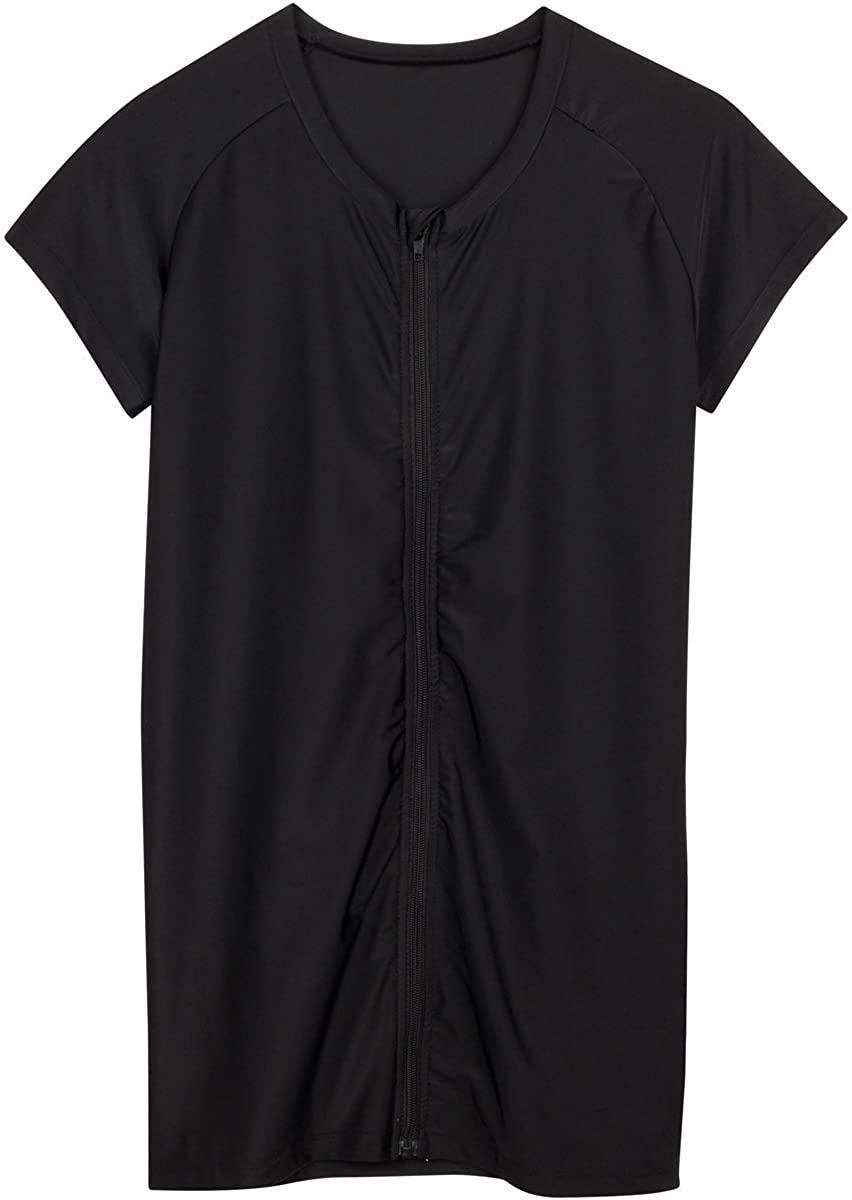 SwimZip Women's Rash Guard Short Sleeve Zip Swim Shirt UPF 50+