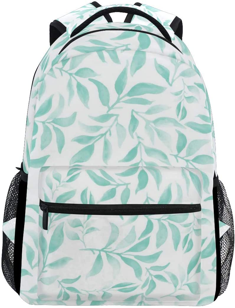 Fashion Water Resistant Laptop Backpack,Blue Green Floral Shoulder Schoolbag Computer Bag Bookbags for Elementary School Kids Boys Girls,Travel Bag,14 Inch Laptop Sleeve