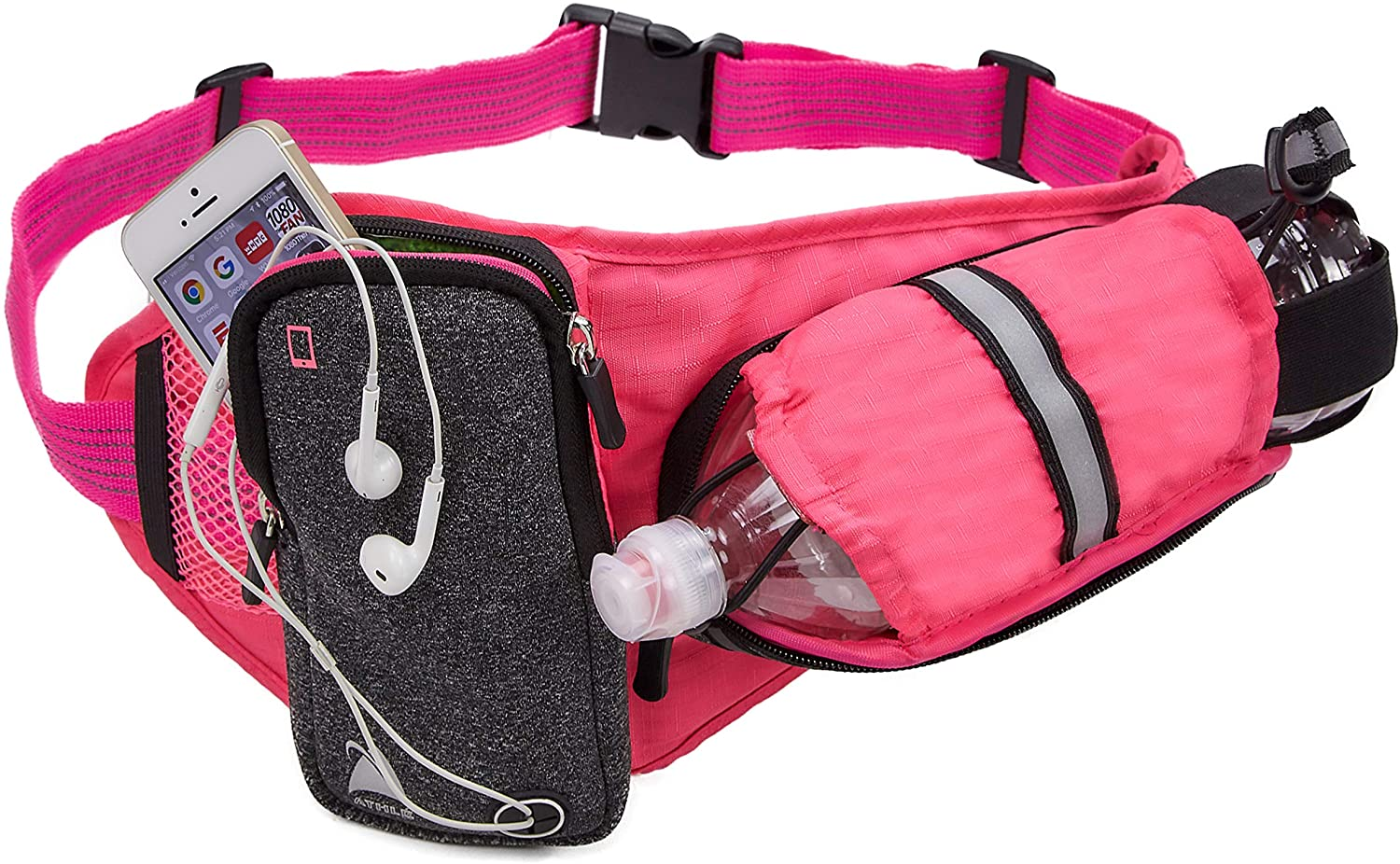 Athlé Running Belt – Horizontal Water Bottle Pouch, Large Fanny Pack Pocket Fits All Phones and Wallet, Adjustable One Size Fits All Waist Band, Key Clip, 360° Reflective
