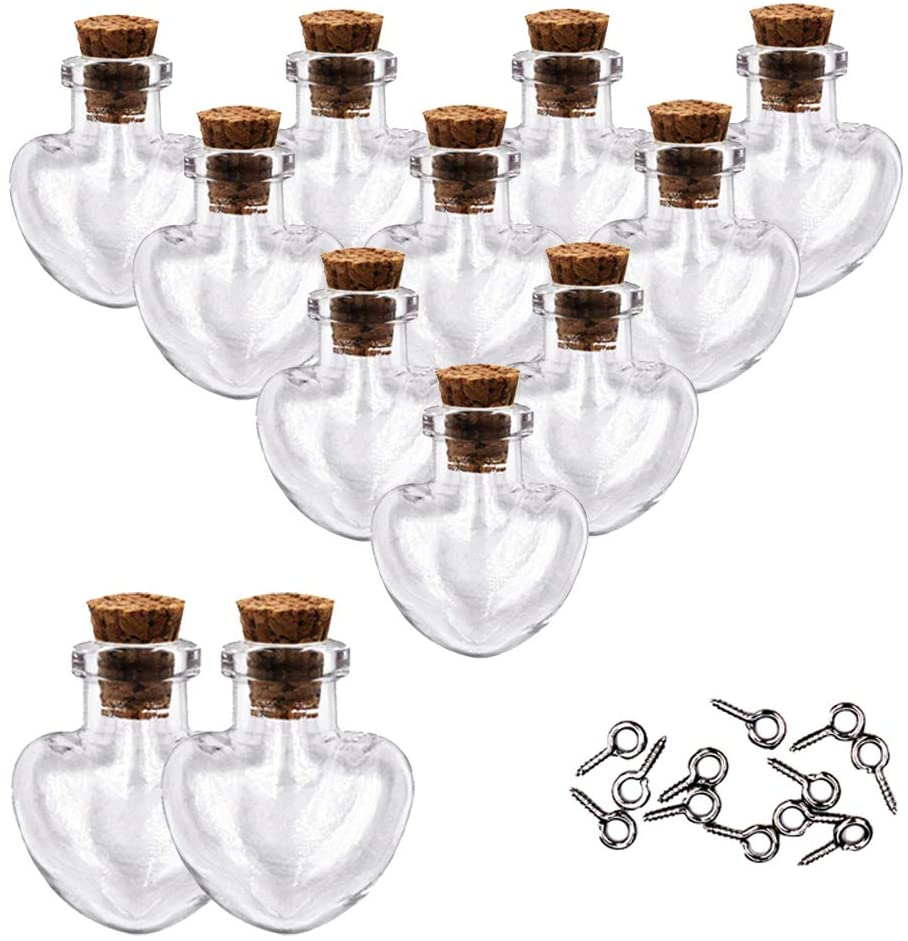 MIGK 24pcs Small Mini Glass Jars Bottles with Cork Stoppers and Eye Screws - 1ml Tiny Vials Wishing Message Bottle Charms Necklace Decorative Accessories for Wedding Party Favors,Love Heart Shape