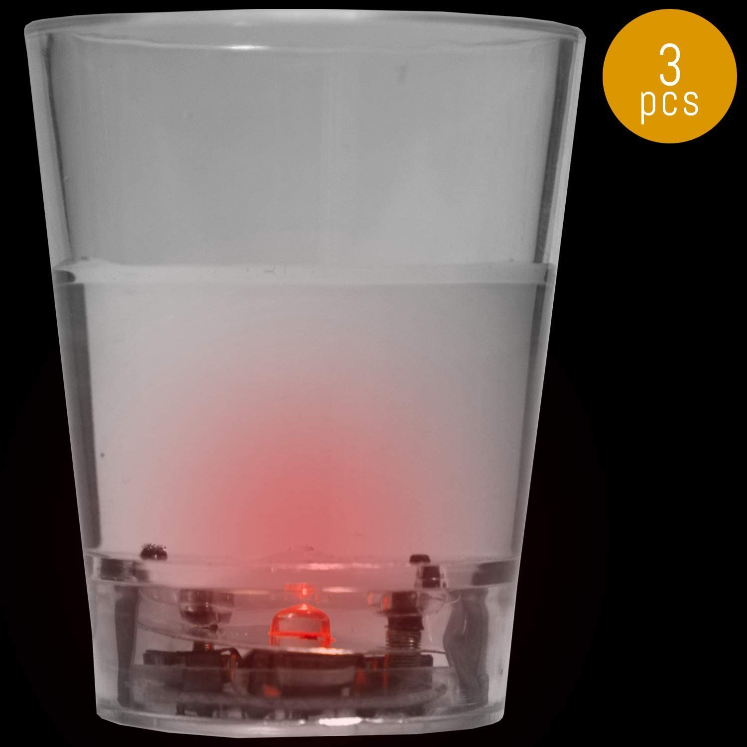 Lumistick Glow in The Dark LED Light Wine/Beer Cup Up Shot Glass Water Activated Colorful Flashing Glasses Glowing Lights for Nightclub Party Favor Drink Ware (Red, 3 Glasses)