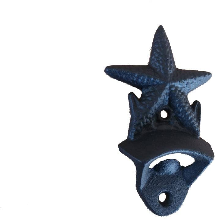 Rustic Black Cast Iron Wall Mounted Starfish Bottle Opener 6
