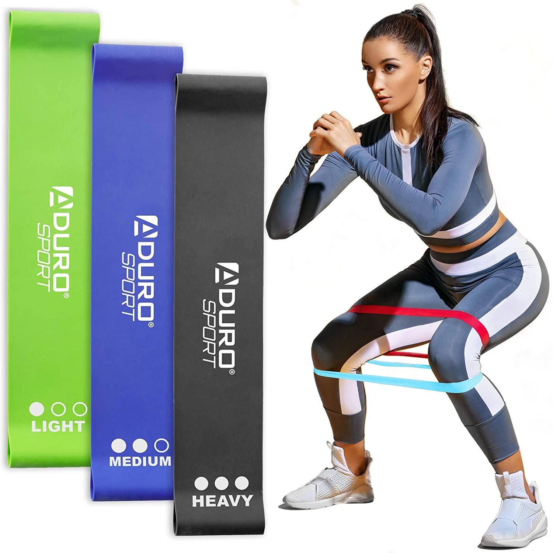 Aduro Sport Resistance Bands Set Exercise Workout Bands Loops Set for Women Men Booty Leg, 3X Resistance Levels - Light, Medium & Heavy