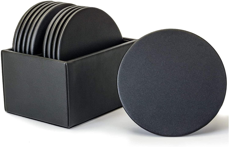 Dacasso Black Leather 10 Round Coaster Set with Holder