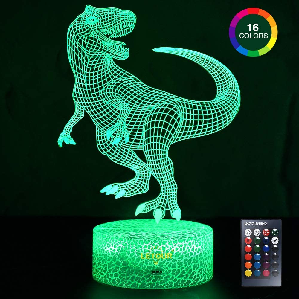 LETOUR Night Light for Kids Dinosaur 3D Night Light Porpoise Illusion Lamp with Remote Control 16 Color Changing Xmas Halloween Birthday Gift for Child Baby Boy (Remote - Ice Crack Base)