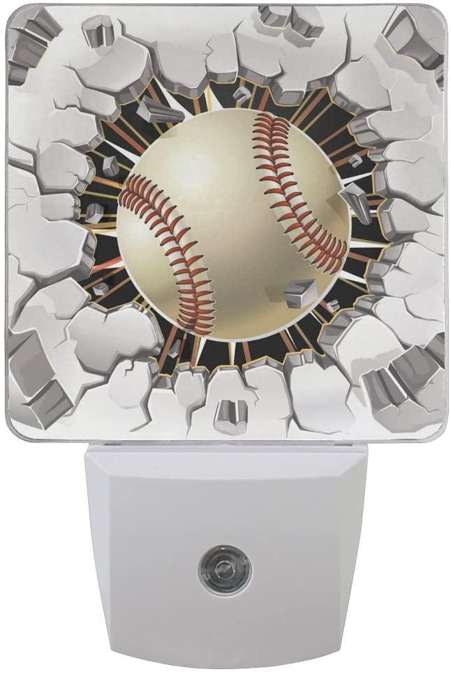 Plug-in Night Light Lamp,Dusk-to-Dawn Sensor LED Nightlight Cool Baseball Smart Light Automatically Lights Bedroom, Bathroom, Kitchen, Hallway, Stairs, Energy