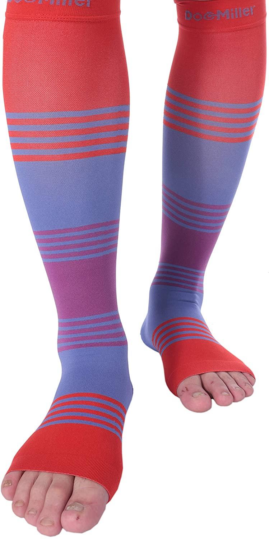 Doc Miller Premium Calf Compression Sleeve Dress Series 1 Pair 20-30mmHg Strong Calf Support Cute Toeless Socks Running Recovery Shin Splints Varicose Veins XL 2XL (Open Toe RedBluePurple, Medium)