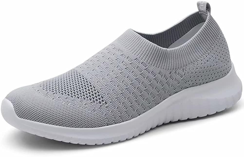 LANCROP Men's Comfortable Walking Shoes - Casual Knit Tennis Slip on Sneakers
