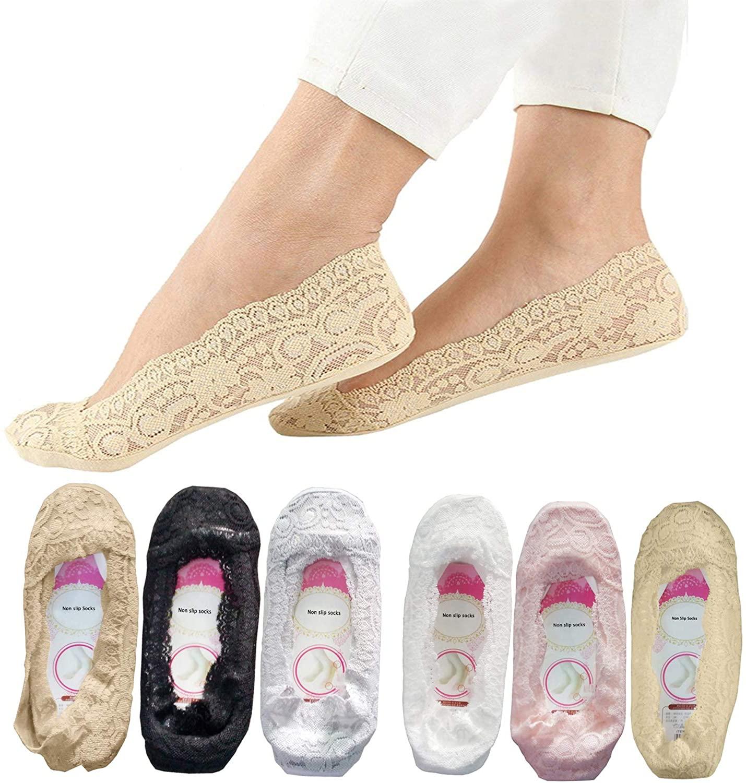 6 Pairs Lace socks for women SNUG STAR Fashion Liner No Show Socks Lace Non Slip Socks Womens Thin Low Cut Casual
